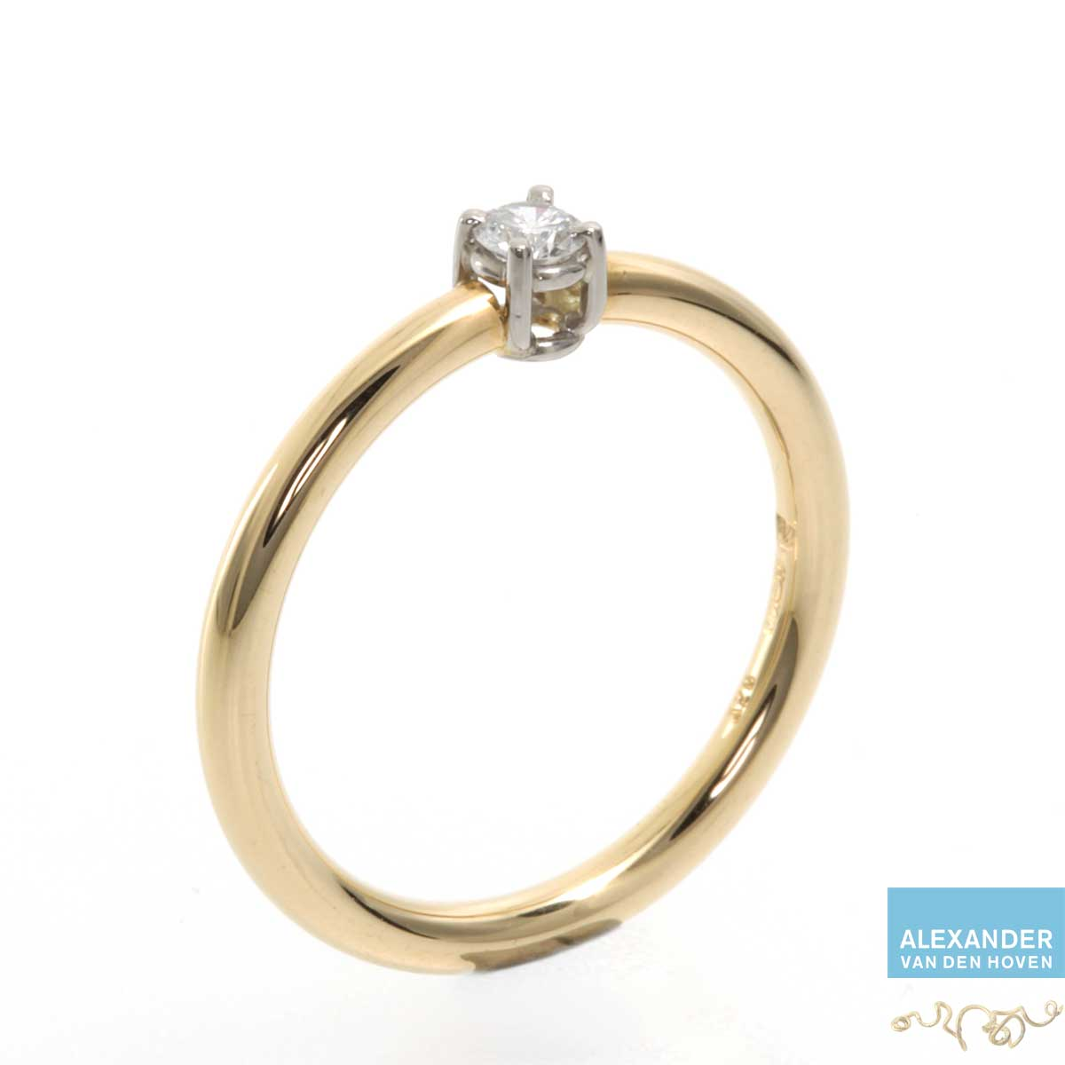 Gouden ring met Briljant geslepen Diamant