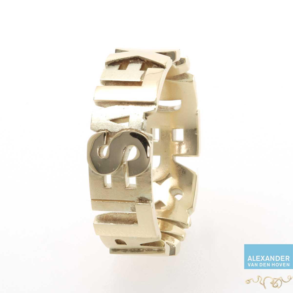 Gouden ring met namen Rhino Matrix