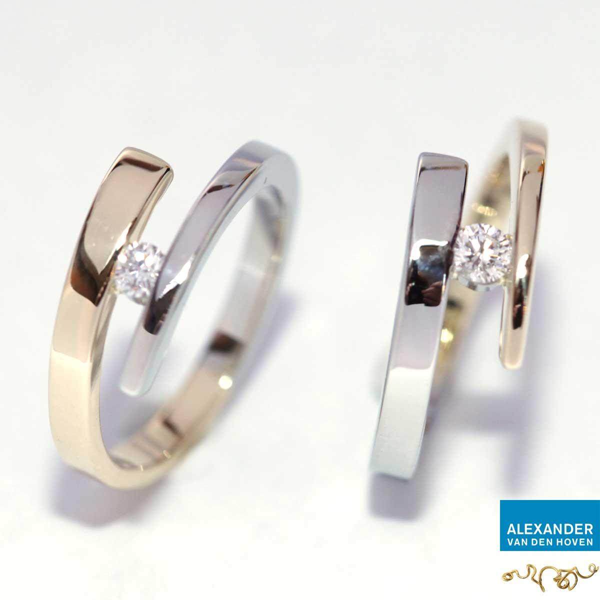 Gouden smeedringen met Diamant