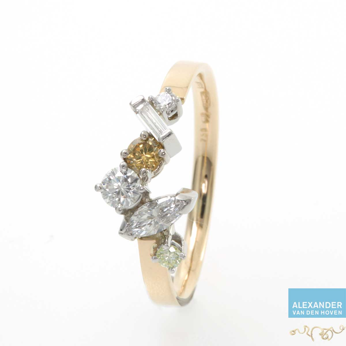 Wilde Diamanten ring goud platina gele Diamant