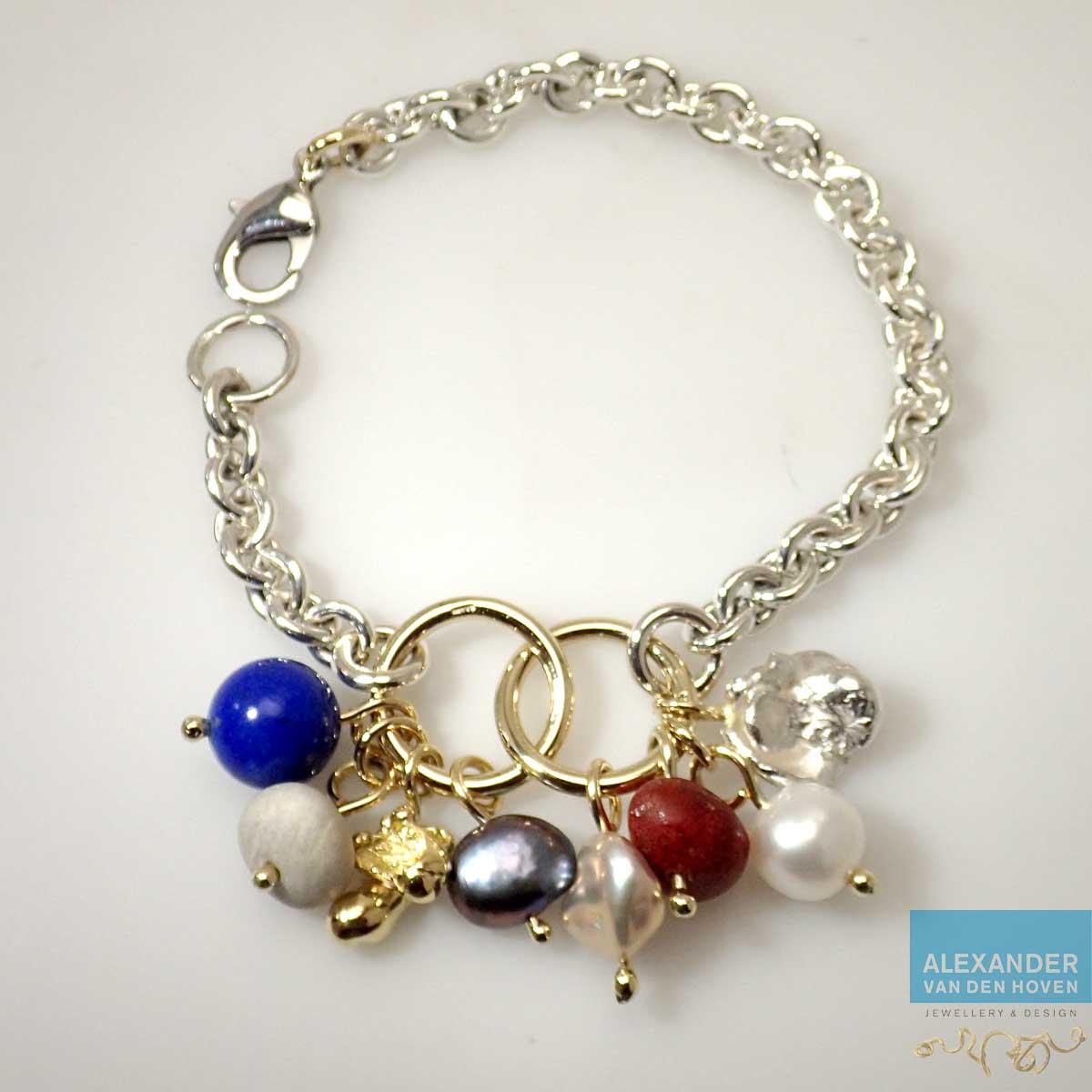 moderne-bedel-armband-parels-zilver
