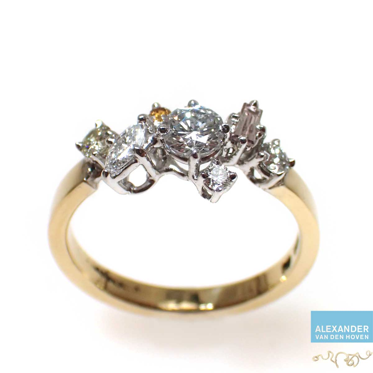 Gouden-Diamant-Cluster-ring-Briljanten