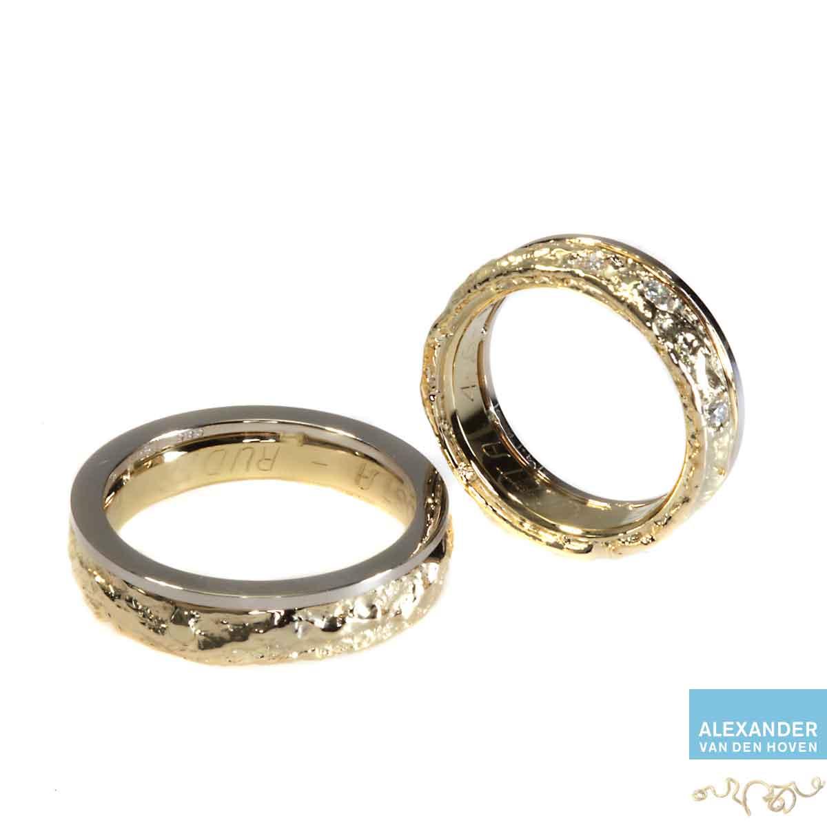 Gouden-trouwringen-ruw-Diamant