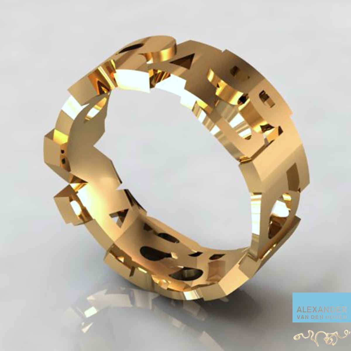 Matrix-3D-namen-Ring-Goudsmid