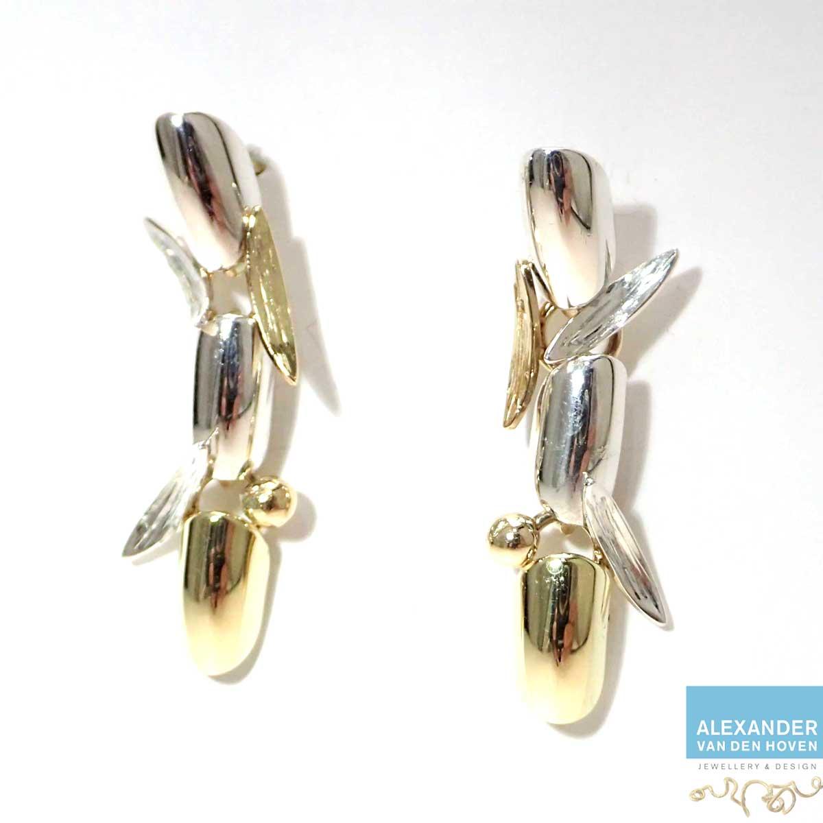 oorhangers goud zilver gemaakt van oud goud