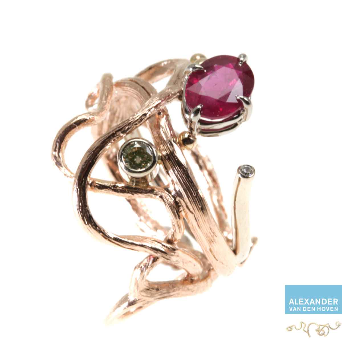 Roodgoud-Ruby-ring-Diamant-Briljanten