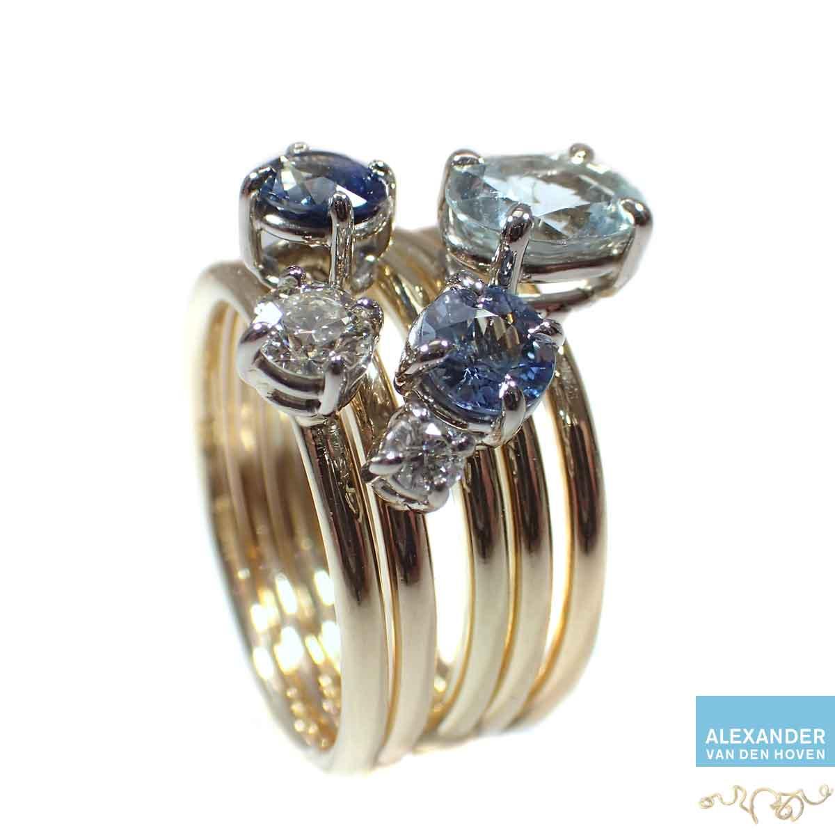 Gouden-ringen-met-Diamant-en-Saffier