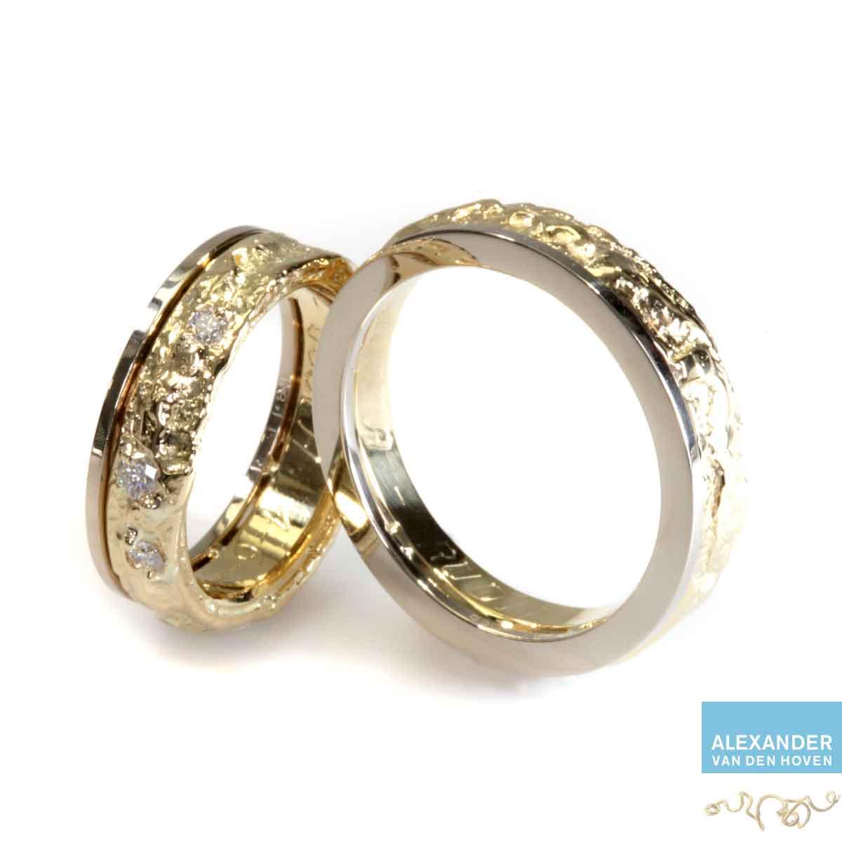 Gouden-trouwringen-ruw-met-Diamant
