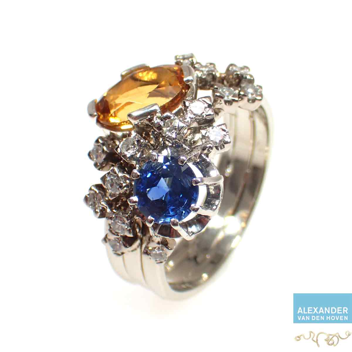 Diamant-ring-saffier-citrien-witgoud