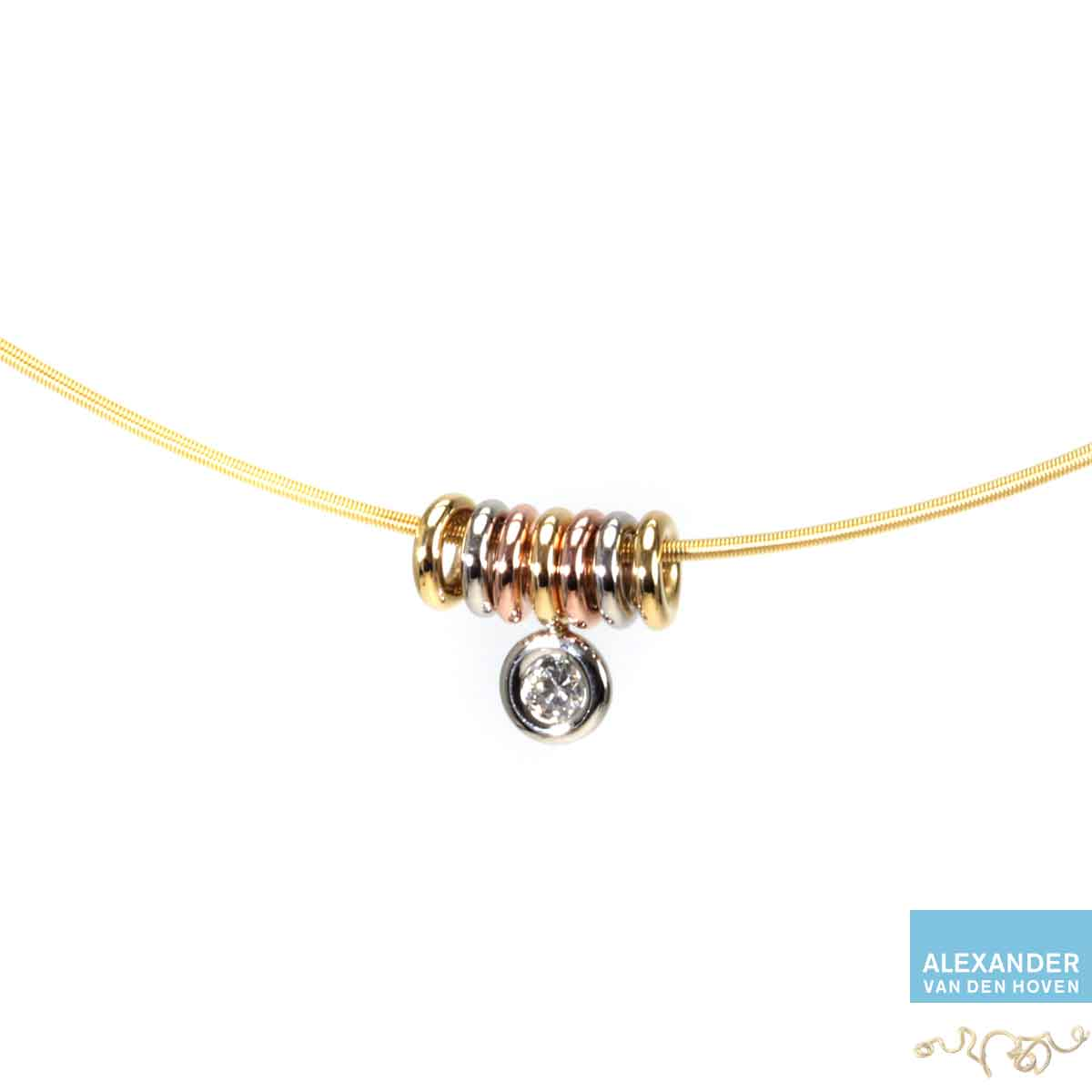 Gouden-hanger-Diamant-roodgoud-platina