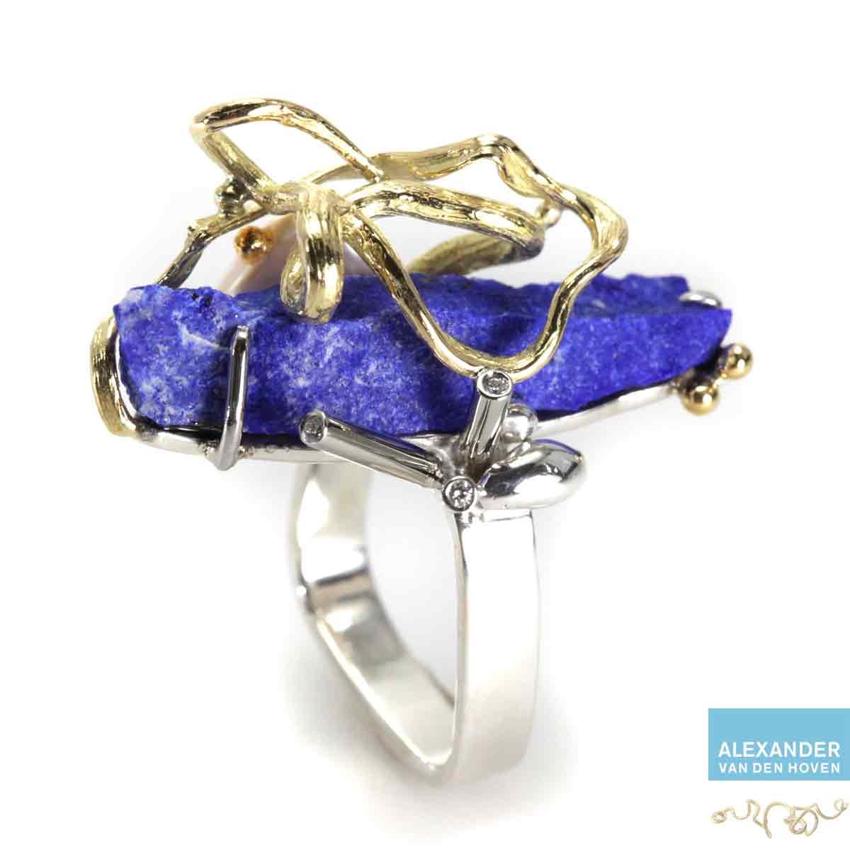 Gouden-ring-Lapis-Lazuli-Briljanten-Diamanten