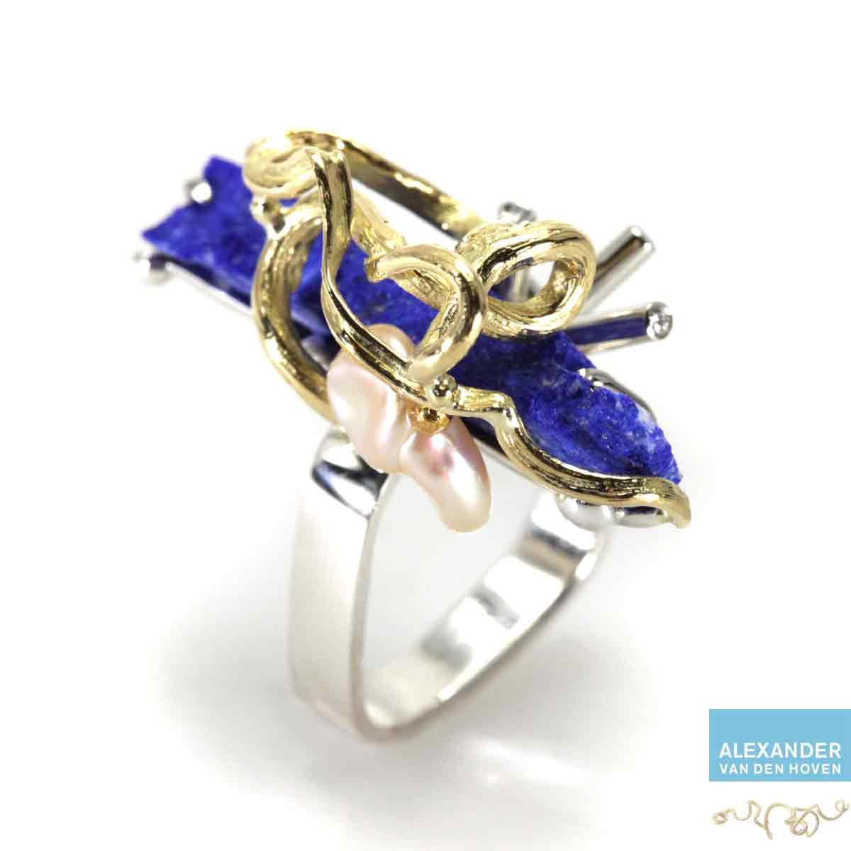 Gouden-ring-Lapis-Lazuli-Briljanten