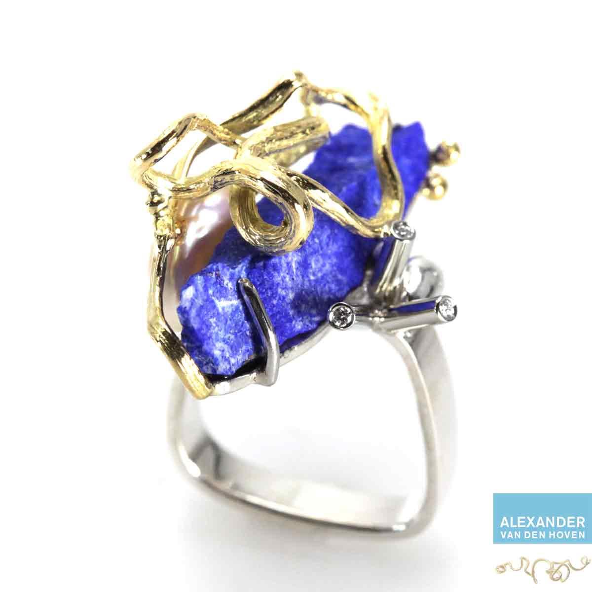 Gouden-ring-Lapis-Lazuli-Diamant