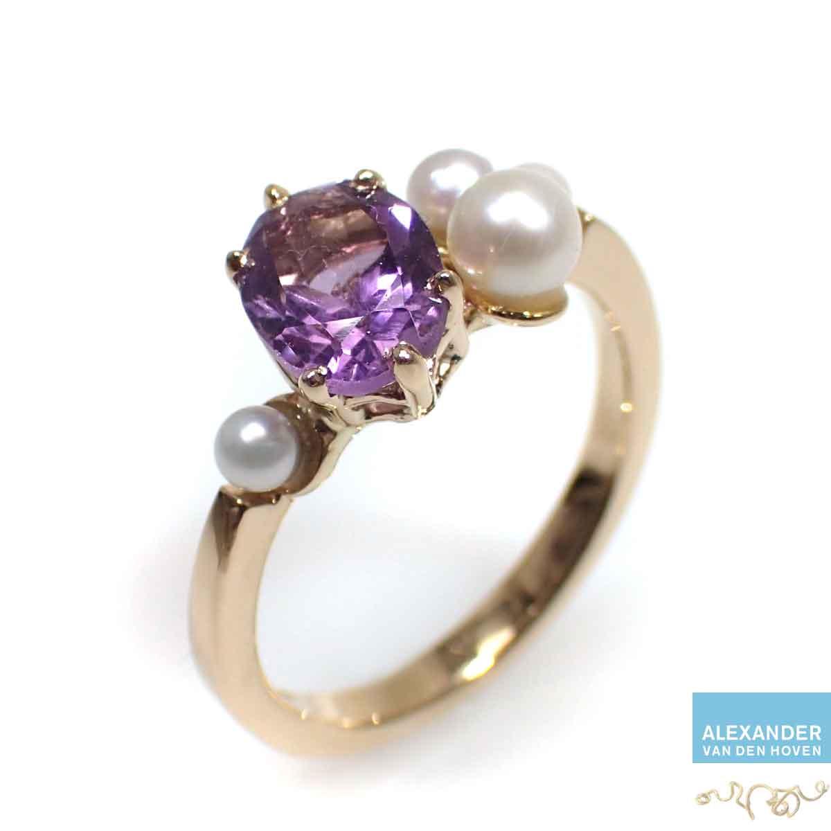 Amethyst-parels-gouden-trouwring