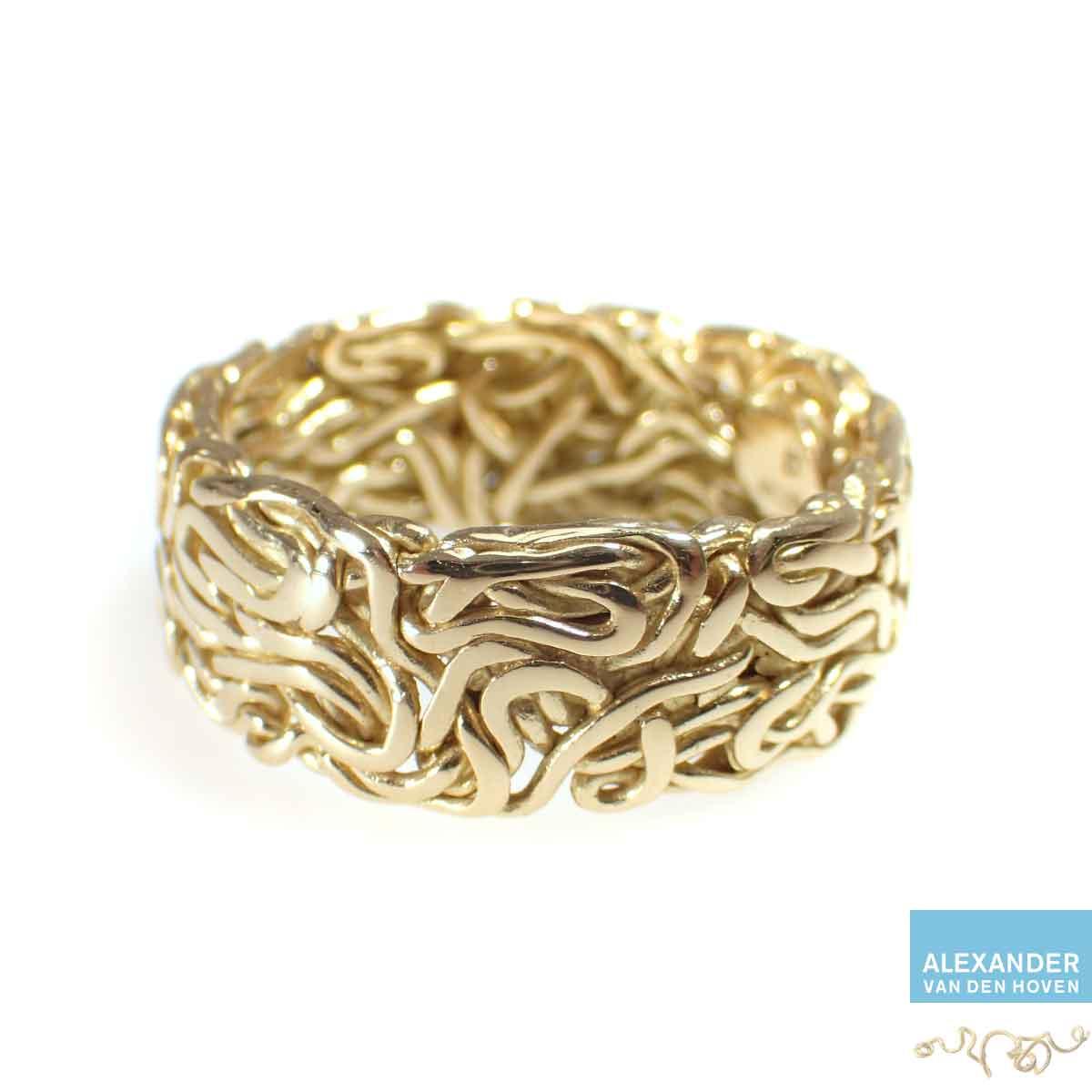 Herenring-vlechtring-gevlochten-goud