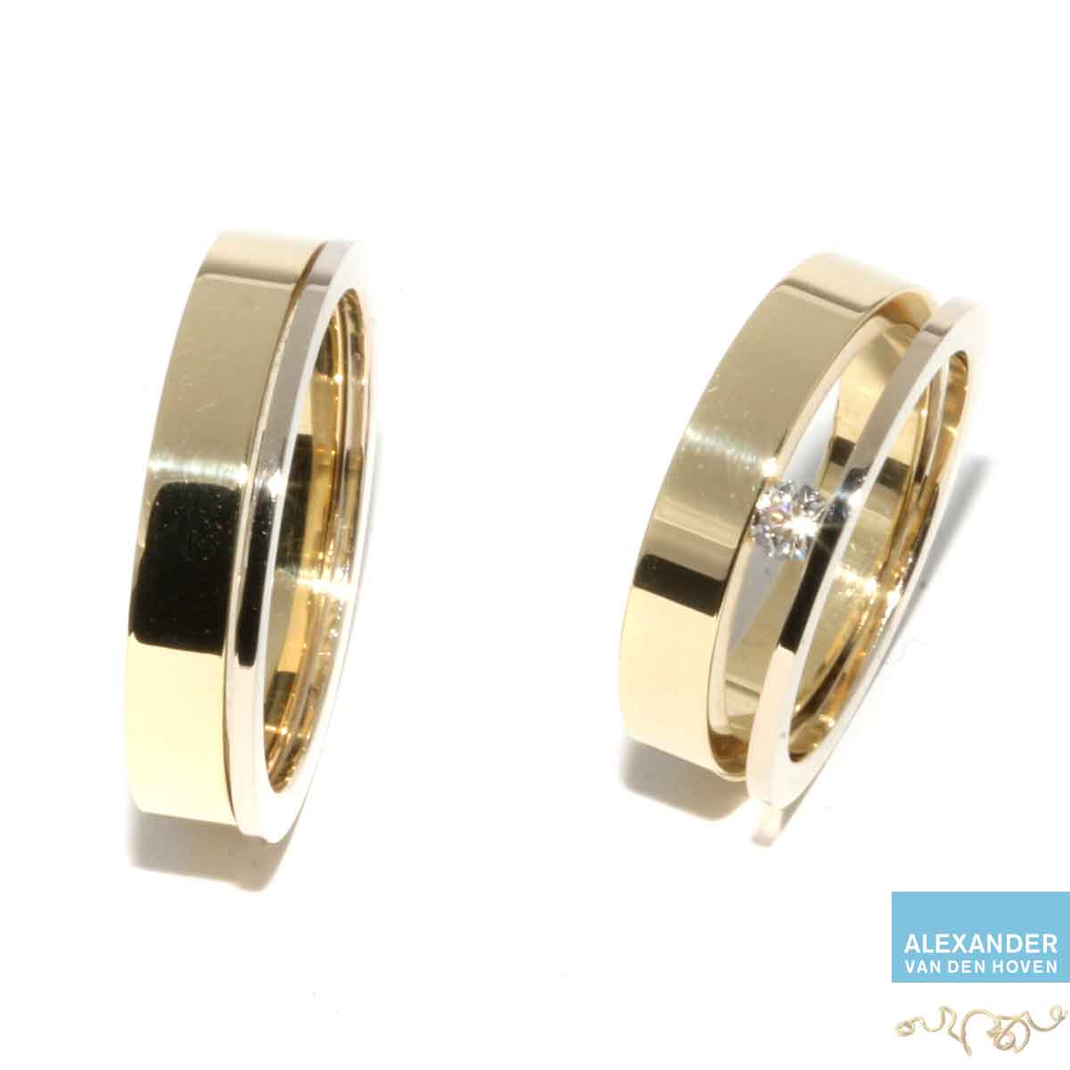 dubbele-Trouwringen-geelgoud-witgoud-diamant