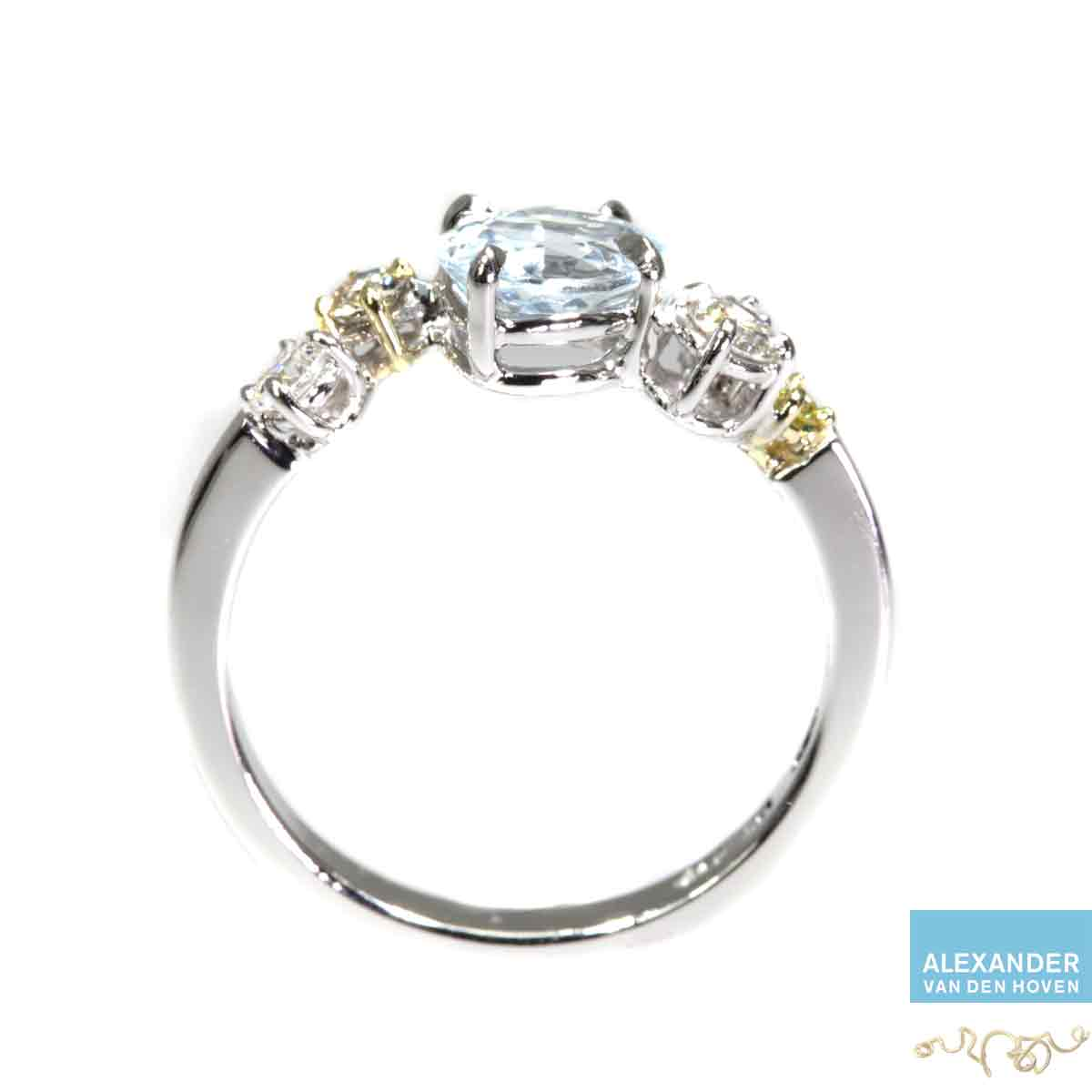witgouden-ring-Diamanten-Aquamarijn-Briljant-cluster-handmade
