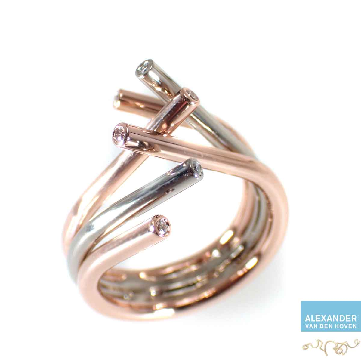 Roodgouden-ring-witgoud-diamanten-platina-edelsmid