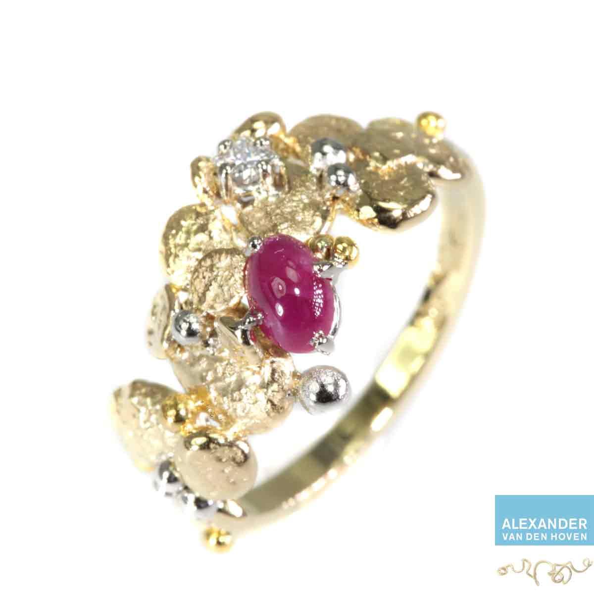 gouden-ring-Robijn-Diamant-Prinses-kiezelstenen