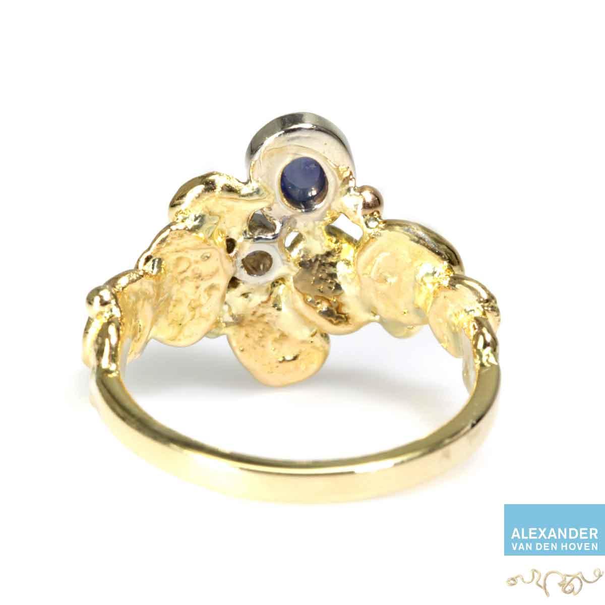 gouden-ring-saffier-bol-diamant-atelier