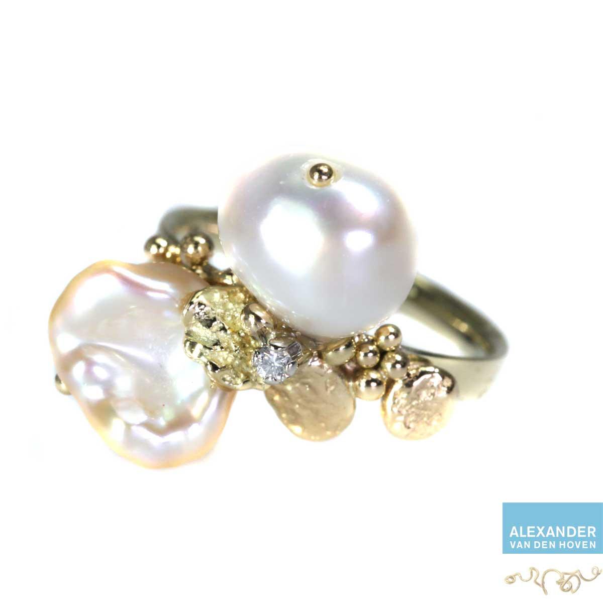 gouden-ring-parels-diamant-briljant