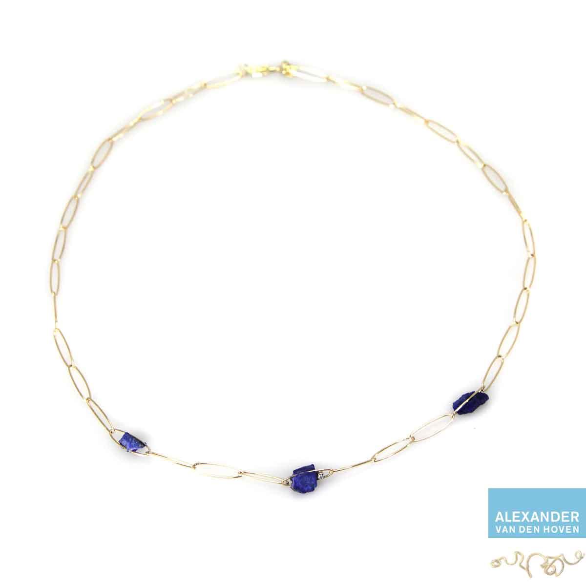 Gouden collier met Lapis Lazuli en Diamanten.