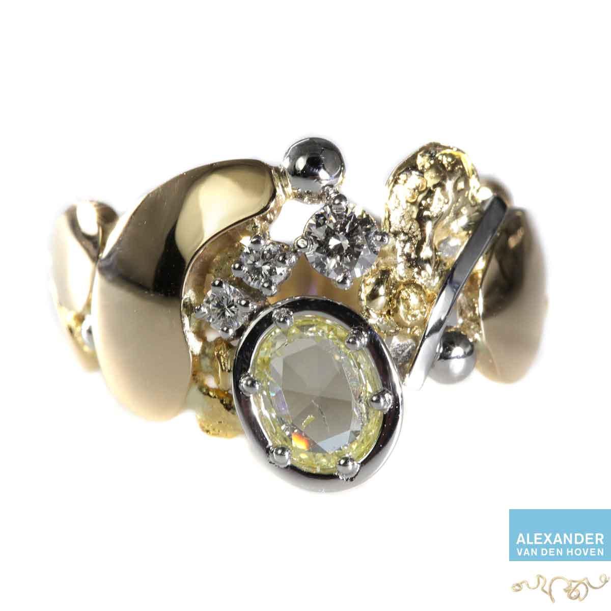 gouden ring roos geslepen diamant briljanten platina geelgoud