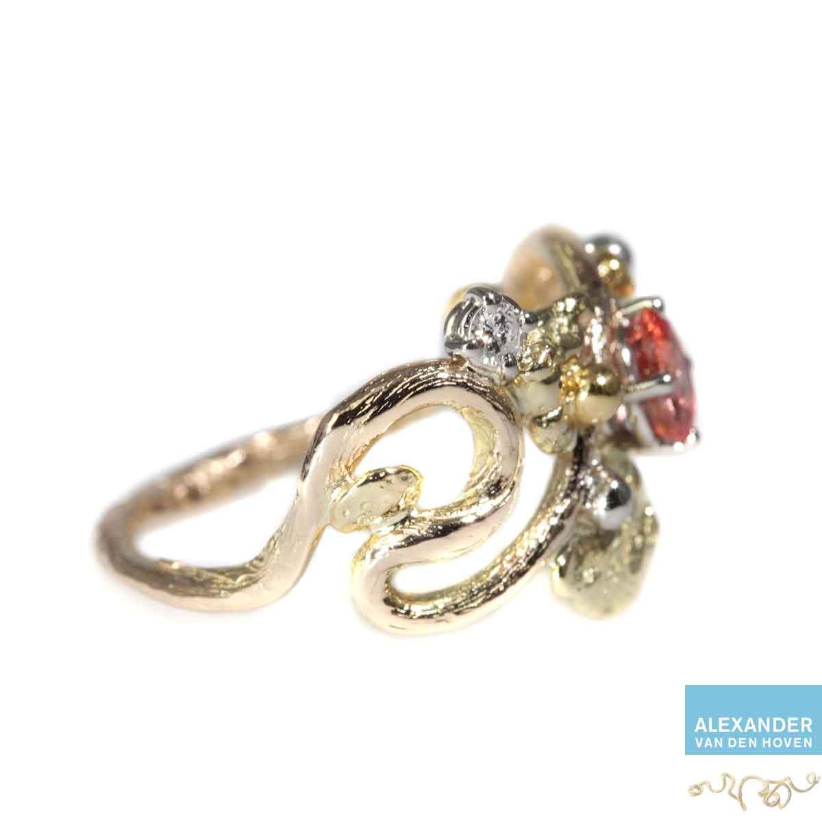 rose goud ring witgoud platina trouwring saffier robijn